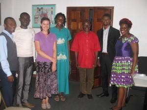 First meeting with EISERVI, Tassah Academy and ISSP from left: Jetat Victor, Funwie Nkwenti (teachers from Tassah), Laura Preston (ISSP), Janet Fofang (Tassah), Andrew Nyenty (director of EISERVI), Nzifor Kingsley, and Fon Christina (EISERVI staff)