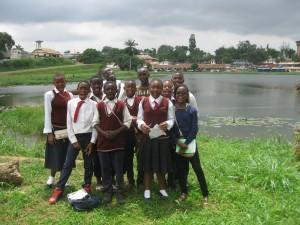 Tassah Academy students on a fieldtrip to the Municipal Lake, outside Yaounde, the capital city of Cameroon AFRICA